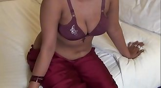 Sexy beautiful desi staff lady in lingerie getting exposed by boss
