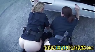 MILF police does well under Big black cock pressure